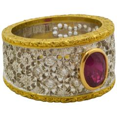 Maini Gioielli Ruby Two Color Gold Bezel Set Filigree Floral Design Ring