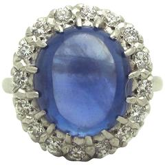 Blue Cabochon Sapphire Diamond Platinum Cluster Ring
