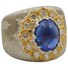 5 ct. Sapphire .74 ctw Diamonds Hand Engraved 18 KW Gold Band Ring