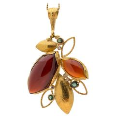 Garnet Tourmaline Diamond Gold Drop Pendant