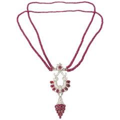 Ruby Diamond 18 Carat Gold Necklace