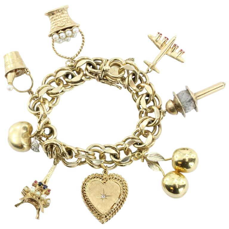 Wonderful 8 Charms Eiffel Tower Champagne Bucket Gold Charm Bracelet For