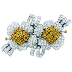 White and Canary Diamond Blossom 18K Gold Double Floral Clip Brooch