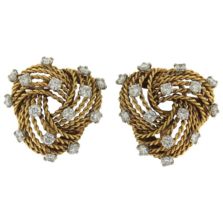1950s Cartier Paris Diamond Gold Woven Earrings 1