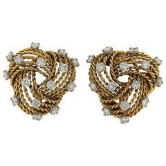 1950s Cartier Paris Diamond Gold Woven Earrings