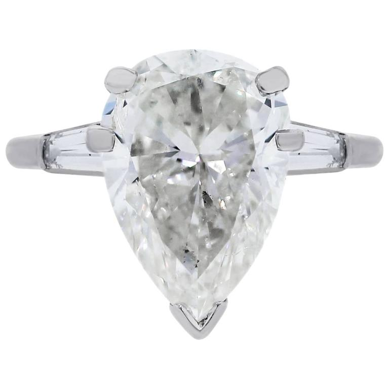 6.21 Carat Pear Shape Diamond Platinum Engagement Ring