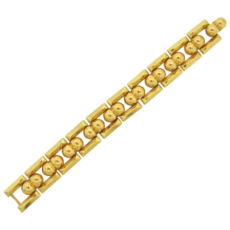 mid century italian chunky gold bracelet for sale at 1stdibs