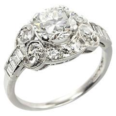 1930s 1.26 Carat Diamond Platinum Engagement Ring