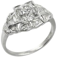 Art Deco 1.06 Carat Old European Cut Diamond Platinum Engagement Ring