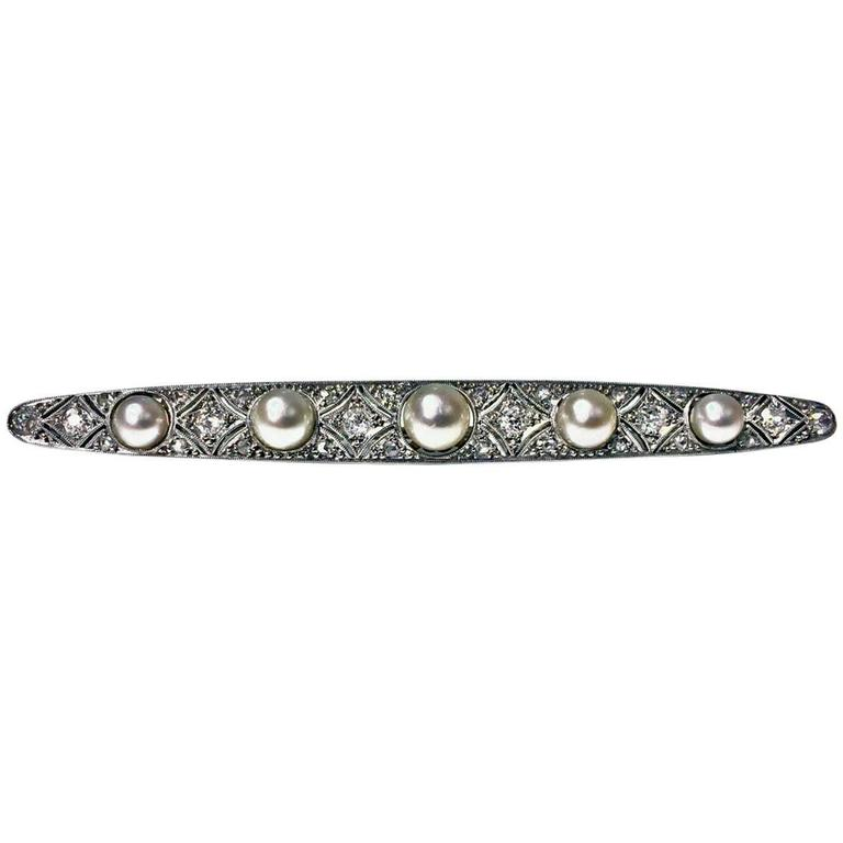 1920s Diamond Pearl Platinum Brooch