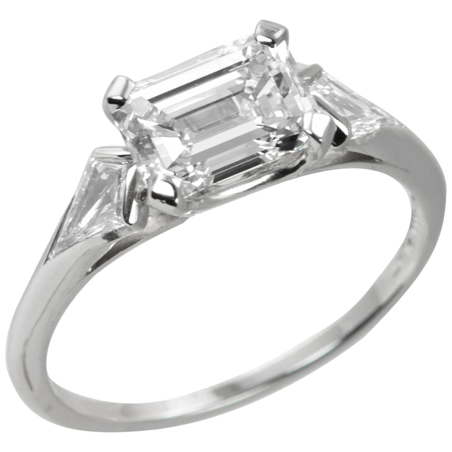 1950s Emerald Cut 1 32 Carat Diamond Platinum Engagement Ring at 1stdibs