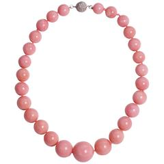 Andean Pink Opal Necklace Finished with Diamond Gold Clasp