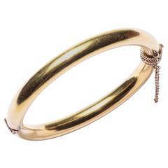 Heavy Hinged Gold Bangle Bracelet