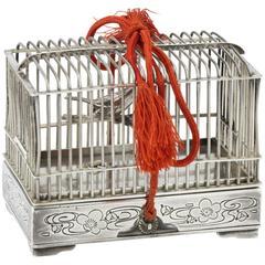 Toyo Koki Japan Silver Figural Bird Cage Jewelry Box CPO