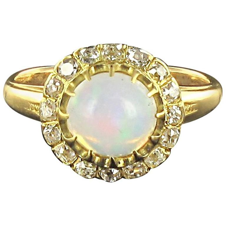 Antique Cabochon Opal Diamond Gold Engagement Ring