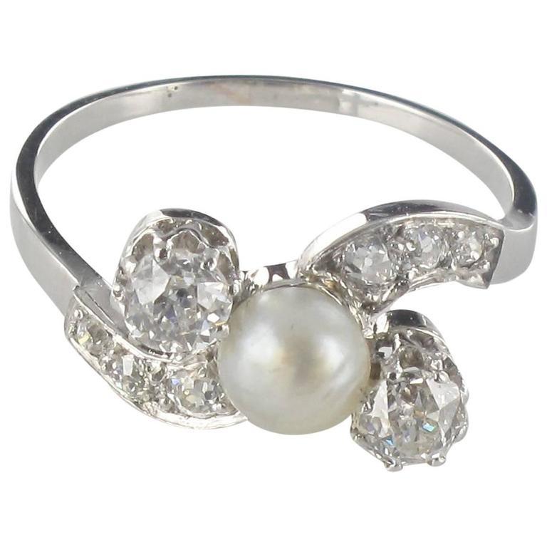 1900s Fine Pearl Diamond Gold Rhodium Ring