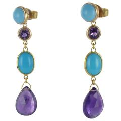 Baume Amethyst Turquoise Gold Drop Earrings