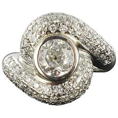 Baume 1.20 Carat Diamond Gold Swirl Ring