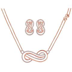 Infinity Diamond Rose Gold Necklace and Earrings Set