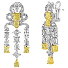 9.12 Carats Yellow and White Diamond Platinum Gold Chandelier Earrings