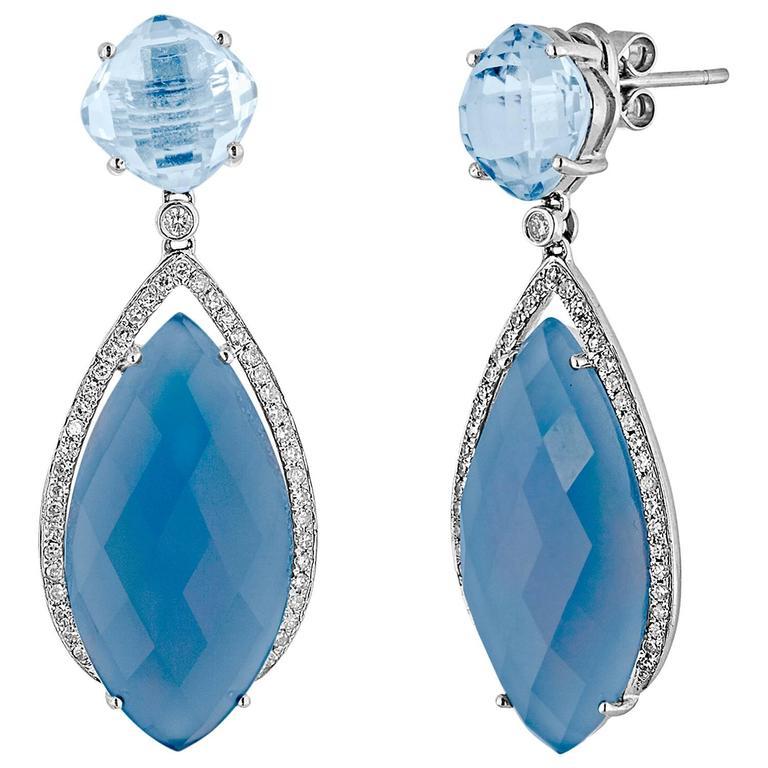 Blue Agate Blue Topaz Diamond Gold Dangle Earrings