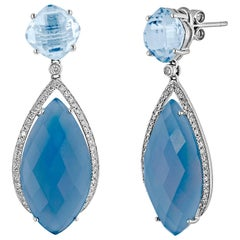 17.15 Carats Blue Agate Blue Topaz Diamond Gold Dangle Earrings