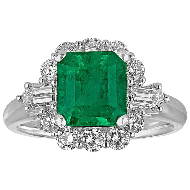 AGL Certified 2.49 Carat Emerald Diamond Gold Halo Ring