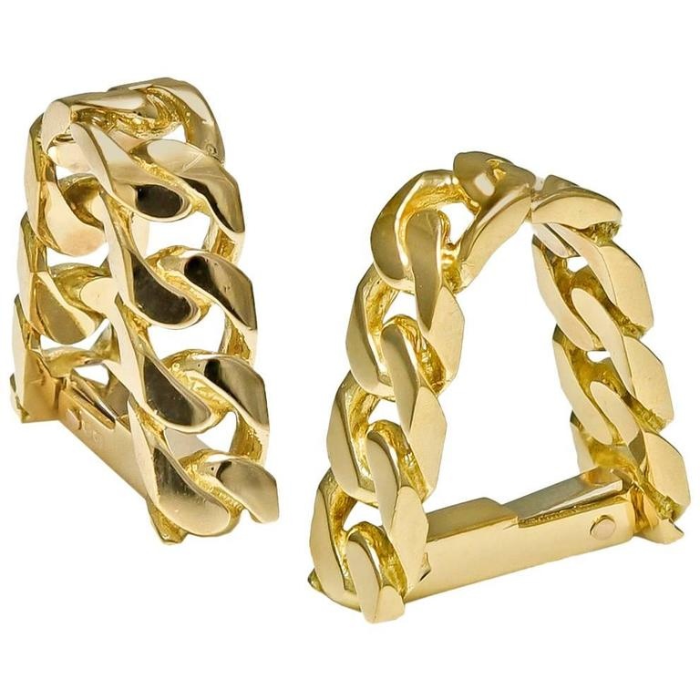 Hermes Paris Gold Around-the-Cuff Cufflinks