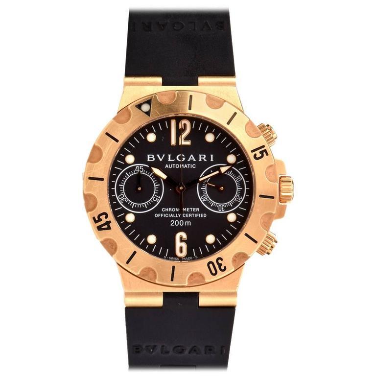 09d661e5a2b Bulgari Yellow Gold Diagono Scuba Automatic Chronograph Wristwatch For Sale  at 1stdibs