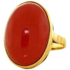1960s Natural Coral Yellow Gold Ring