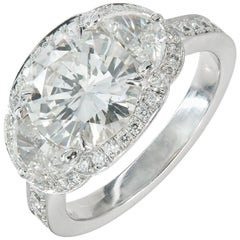Peter Suchy 2.30 Carat Diamond Platinum Halo Three-Stone Engagement Ring