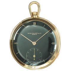 Patek Philippe Rose Gold Black Gilt Dial Pocket Watch