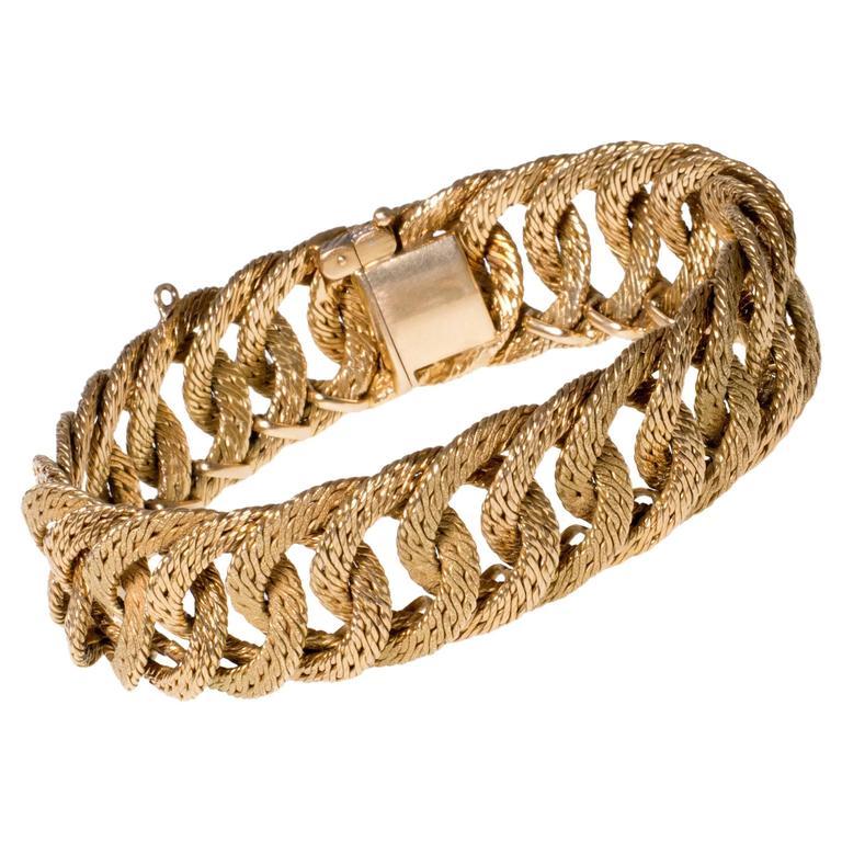 Georges L'Enfant Woven Yellow Gold Circular Link Bracelet