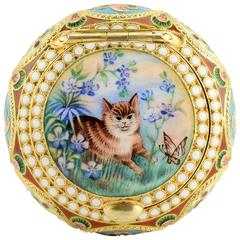 Russian Shaded and Pictorial Enamel Pill or Pastille Box with a Cat