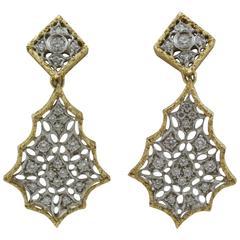Diamond Two Color Gold Dangle Earrings
