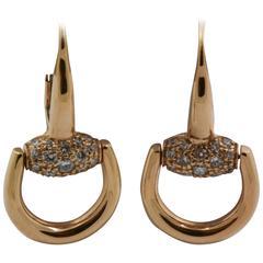 Gucci Diamond 18kt Gold Horsebit Earrings