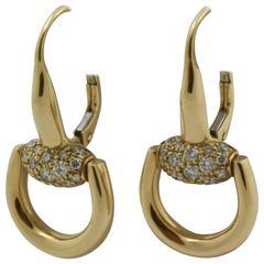 Gucci Diamond Gold Horsebit Earrings