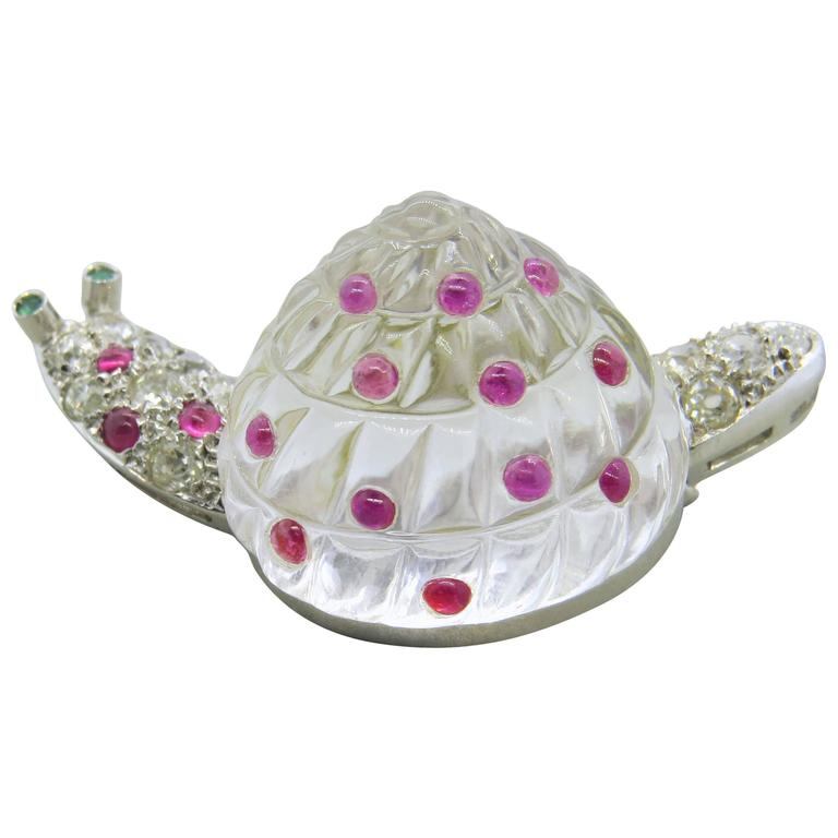 Adorable Antique Crystal Ruby Emerald Diamond Platinum Snail Brooch Pin For Sale
