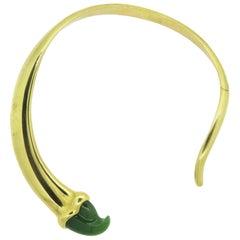 Tiffany & Co. Elsa Peretti Rare Nephrite Gold Collar Necklace