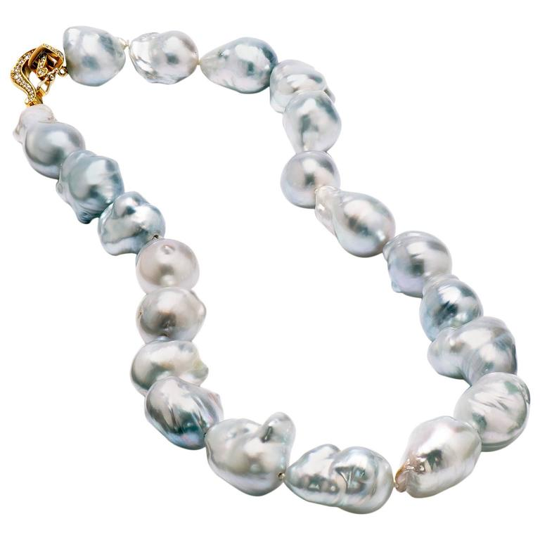 Australian Baroque Pearl Necklace with Diamond Clasp