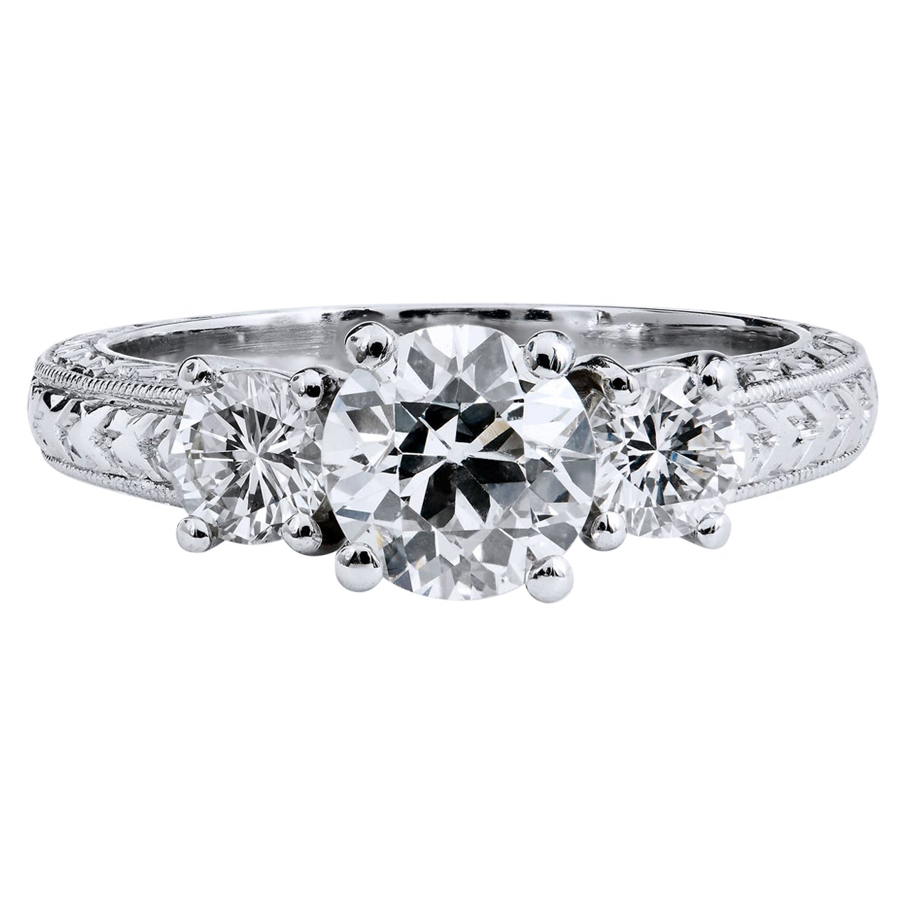 GIA Certified Three-Stone Old European Cut Diamond Engagement Ring