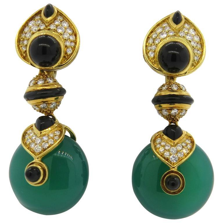 Marina B Diamond Gold Interchangeable Crystal Drop Earrings 1