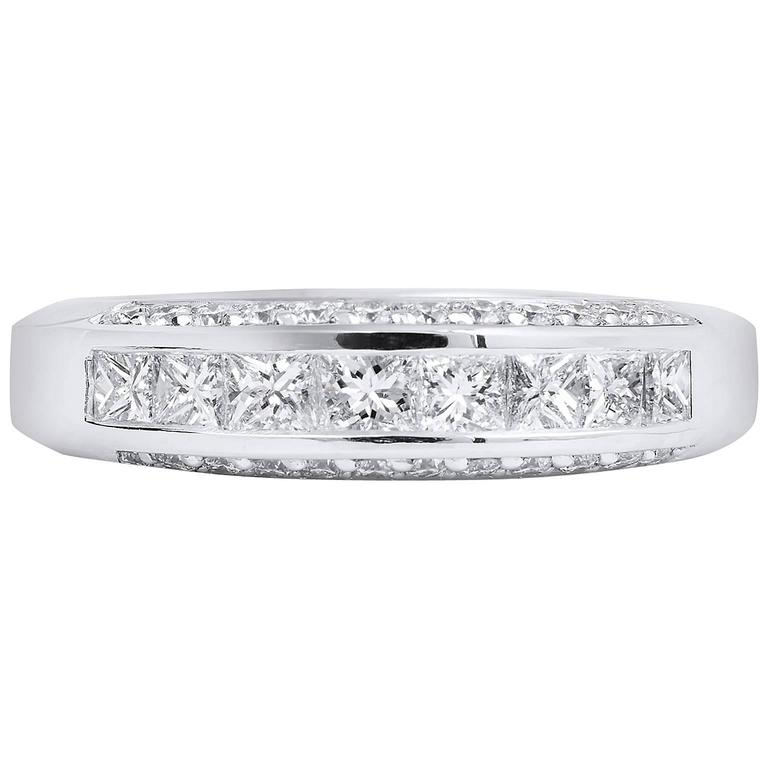 Princess Cut Diamond Palladium Wedding Band Ring For Sale
