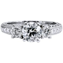 Three-Stone .94 Carat GIA Certified Old European Cut Diamond Platinum Ring