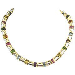 Bulgari Gemset Gilt Steel Necklace