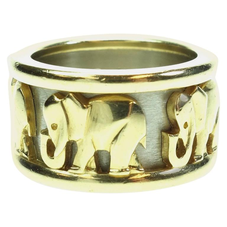 cartier two color gold elephant band ring at 1stdibs
