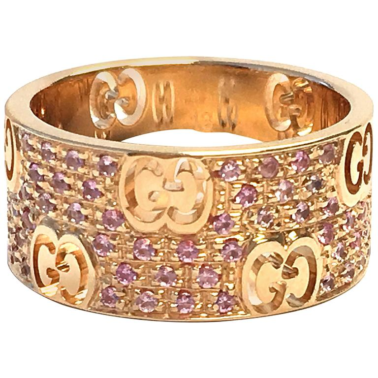Gucci Icon Stardust Pink Sapphires Rose Gold Band Ring at 1stdibs
