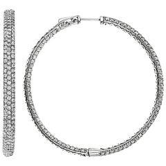 3 Row Micro Pave Diamond Gold Platinum Hoop Earrings