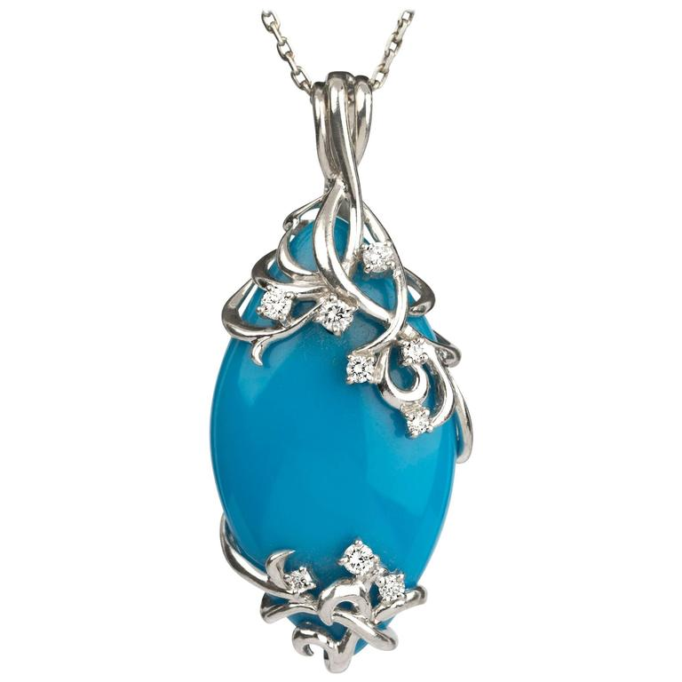 Persian Blue Robin's Egg Blue Turquoise Diamond Platinum  Necklace
