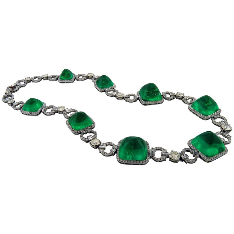Colombian Emerald and Diamond Platinum Rose Gold Necklace